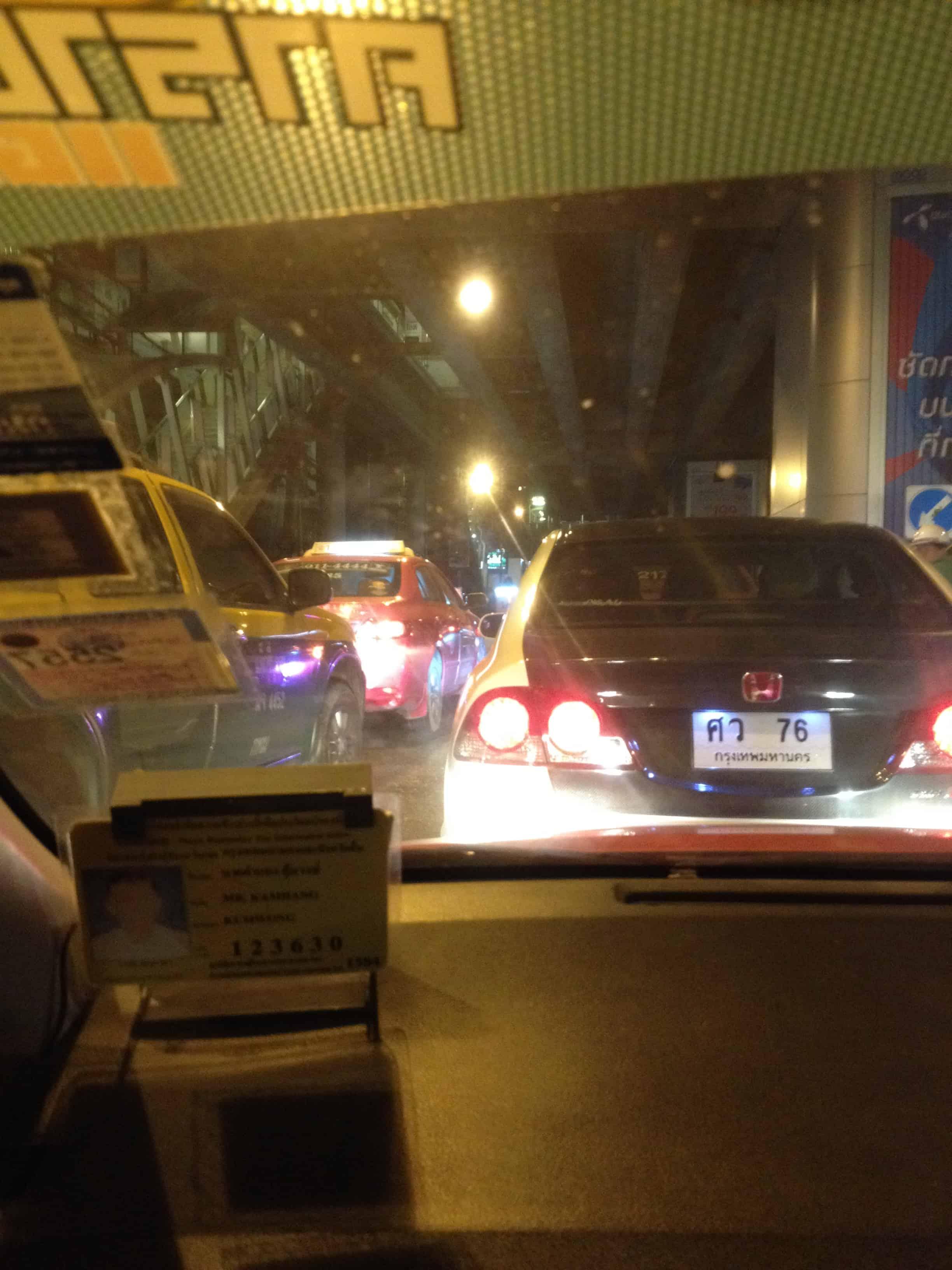 inside a Bangkok taxi